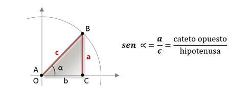 seno de un ángulo triángulo rectángulo