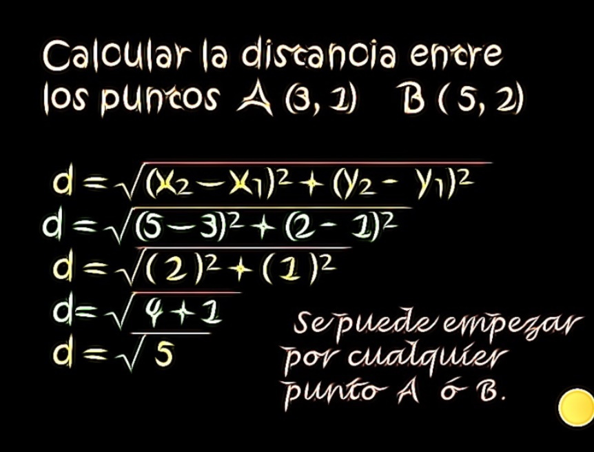 calculo de distancia entre 2 puntos